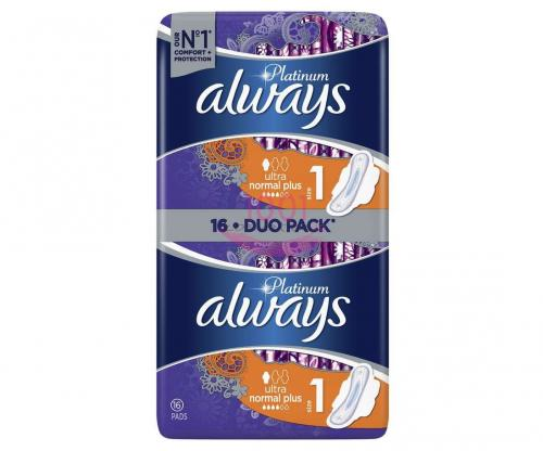Always Platinum Ultra Normal Plus 1 Absorbante Pachet 16 Bucati