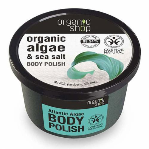 Exfoliant pentru corp cu Alge din Oceanul Atlantic si Sare Marina – Organic Shop Body Polish – Ingrediente 9954% Naturale – 250 ml