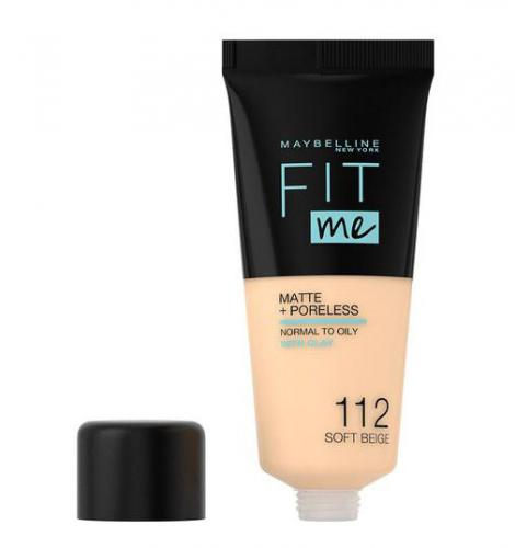 Fond de ten MAYBELLINE FIT ME Matte Poreless 112 Soft Beige - 30 ml - Machiaj fata -