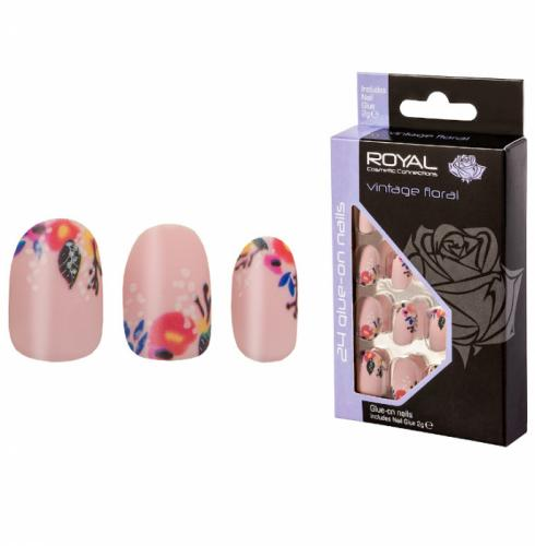 Set 24 Unghii False ROYAL Glue-On Nail Tips - Vintage Floral - Adeziv Inclus 2 g - Unghii false monolit -